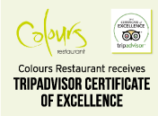 Colours Restaurant receives TripAdvisor Certificate of Excellence