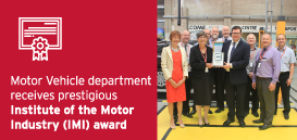 Motor Vehicle department receives prestigious Institute of the Motor Industry (IMI) award