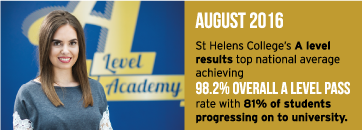 August 2016 - St Helens College's A level results top national average achieving 98.2% overall A level pass rate with 81% of students progressing on to university.