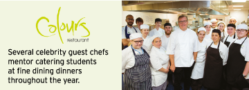 Several celebrity guest chefs mentor catering students at fine dining dinners throughout the year.
