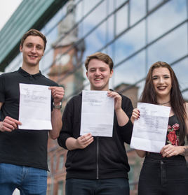 Picture of our students with their results