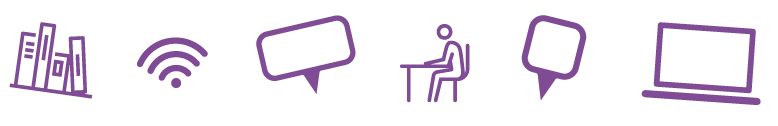Icons representing books, wifi, speech mark, someone sat at a desk, a location marker and laptop