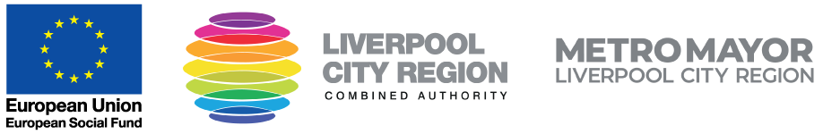 European Social Fund Logo, Liverpool City Region Logo and Metro Mayor Liverpool City Region Logo