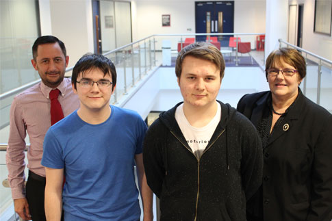 Andrew Lenegan, Regional Account Manager for Prodigy Learning, Alex Campbell, Joe Poole and Jeanette Banks, Curriculum Leader in Computing