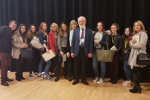 Our A level students with David Crystal