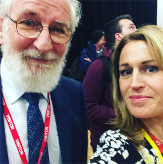 A member of our A level staff with David Crystal
