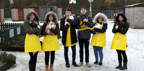 Students brave the cold to look after our animals