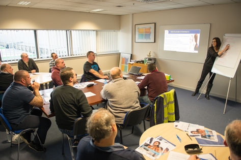Claire Webster of St Helens College delivering a mentoring class to Wincanton Drivers.