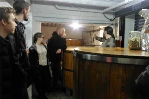 Our students taking a look round our brewery
