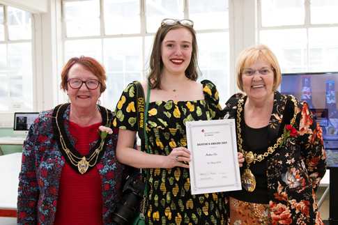 BA (Hons) Photography student, Amber with the Mayor and Mayoress